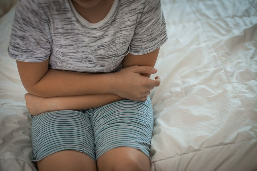 young boy with stomachache